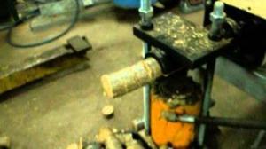 Homemade briquette press, briquetting